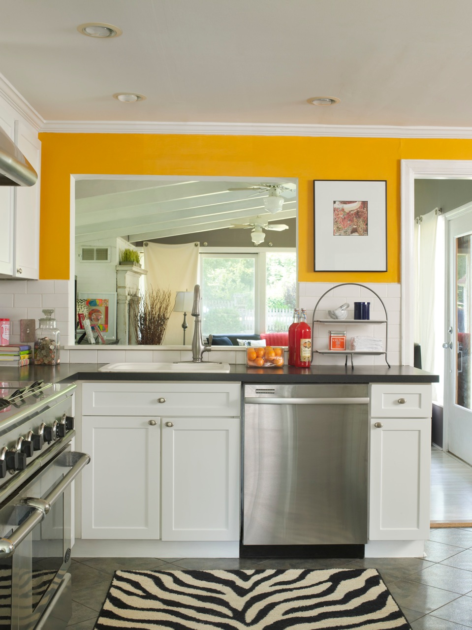 Kitchen color ideas yellow Bright yellow wall paint