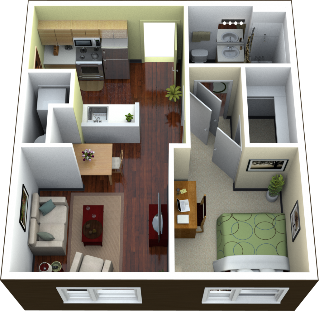 Planning studio apartment floor plans ideas 4 homes Modern 1 bedroom apartments