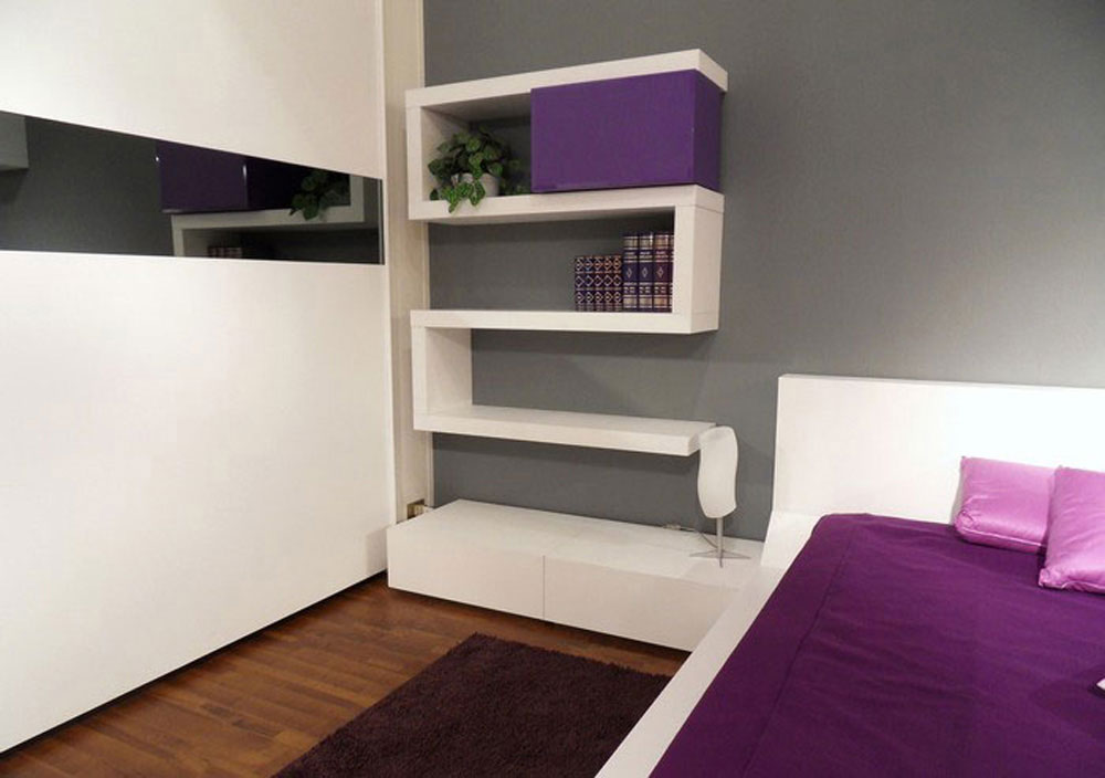Updated Bedroom In Masculine Look With Mounted Shelving Unit In WHite  Color. Affordable And Beautiful Modern Bedroom Designs ...