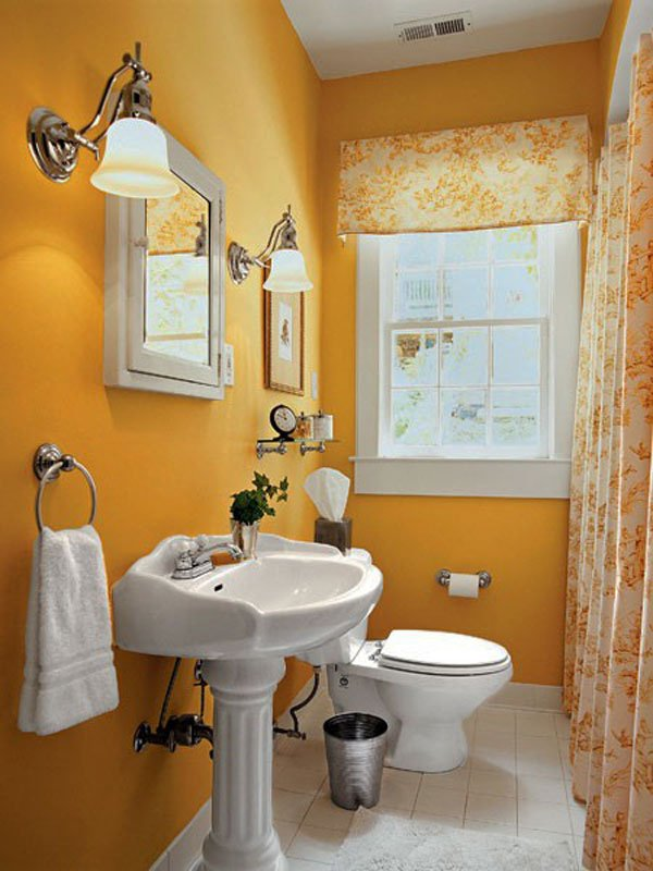 vivid orange bathroom with updated inteiror style for feminine apartment living - Updated Bathrooms Designs