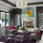 Cool Silverleaf Residence Simpson Design Associates Interior in Living Room Used Grey Sofa and Crystal Chandelier Lighting