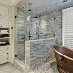 Gorgeous Stone Wall Bathroom Copper Bath Design Decorated with Stone Wall Decor and Traditional Vanity Furniture