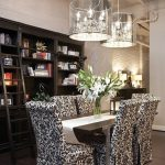 Superb Drum Pendant Chandelier above Glossy Table and Comfy Chairs in Fabulous Dining Room Interior Design