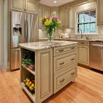 Fantastic Idea of Wooden Movable Kitchen Island with Granite Countertop also Drawers  and Racks
