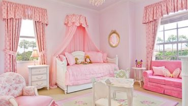 Neat Furniture of Pink Bedroom Design Ideas with Lavish Bed using Attractive Fabric Canopy