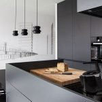 Splendid Interior Decoration with Grey Walls Kitchen Design also Set of Dining Table above Chandelier